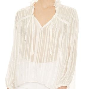 Adwoa Tonal Stripe Silk Blend Blouse NWT